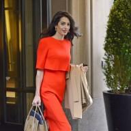 RED♣특별한날 입고싶은 비비드컬러: 아말클루니패션 오피스룩 레드드레스,커리어우먼 빨간코트