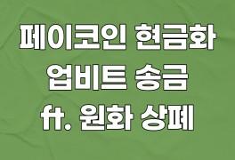 페이코인 현금화 및 업비트 송금하는법 (ft. 원화마켓 상폐)