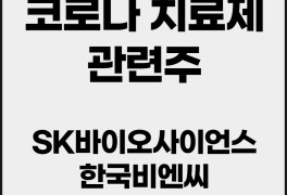 코로나치료제 관련주 SK바이오사이언스 한국비엔씨 에스맥...