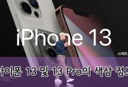 아이폰 13 및 아이폰 13 Pro(프로)의 색상 관련 정보.