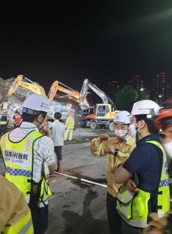 국토안전관리원 박영수 원장, 광주 건물 붕괴사고 현장 방문