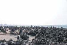제주도 비양도를 볼 수 있는 협재해수욕장의 풍경