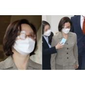 [포착] 단발로 싹둑 자른 머리…'안대' 안대 쓴 정경심 출석길