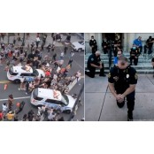 차로 뭉개더니 무릎 꿇은 경찰…美 공권력의 두 경찰제복 얼굴 [영상]