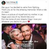 이번에는 왜... UFC 인기스타 맥그리거 세번째 은퇴 페더라이트 선언