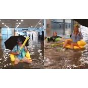 [영상pick] 폭우로 물에 보인튜브 잠긴 지하철역에서 시민들이 보인튜브 보인 유쾌한 반응 보인튜브