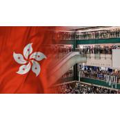 홍콩 곳곳에서 '홍콩송환법 홍콩 반대 입법회 포위' 홍콩 1주년 기념시위