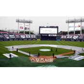 [포토] 비 내리는 잠실야구장... 11일 야구장 더블헤더