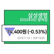 [18일 마감종목분석] 삼성생명, 삼성생명 주가추이 마감주가 74,400원