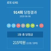 로또 915회 13일 추첨, 역대 당첨자추첨 당첨번호조회 통계, 914회 1등 당첨금은 당첨자추첨 약 19억 5천만원