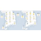 [오늘의 날씨] 12일 금요일 일기예보, 전라도 전국 대체로 구름 많고 더워…전라도 전라도 등에는 밤부터 비