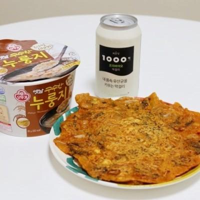 자취방에서 김치부침개 맛있게 만들어 먹는방법 (부침가루, 튀김가루, 김치) | 블로그
