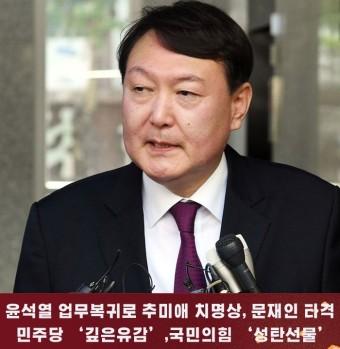 윤석열 업무복귀로 추미애 치명상,문재인 정치적 타격 :: 부천타임즈